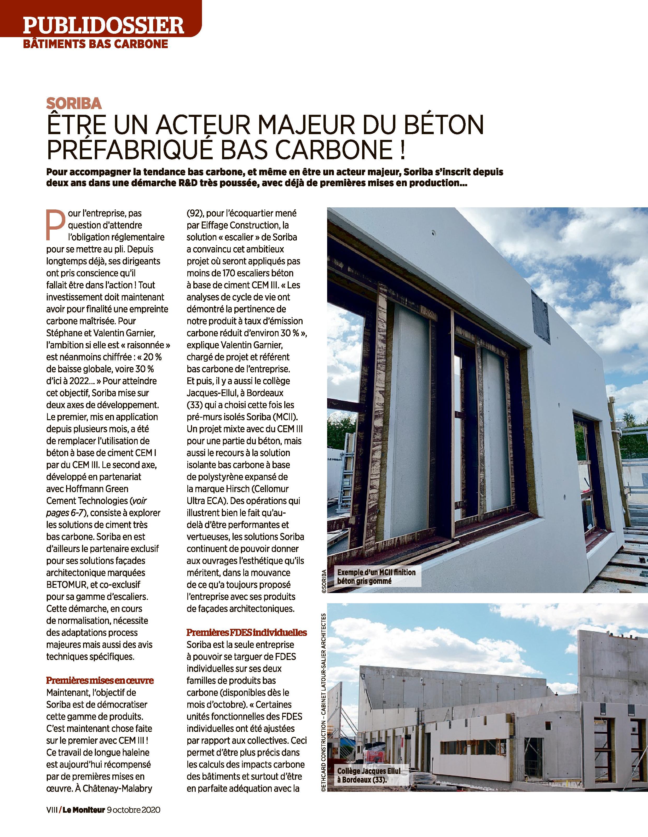 Article Le Moniteur - Publidossier du 09.10.2020 page 1