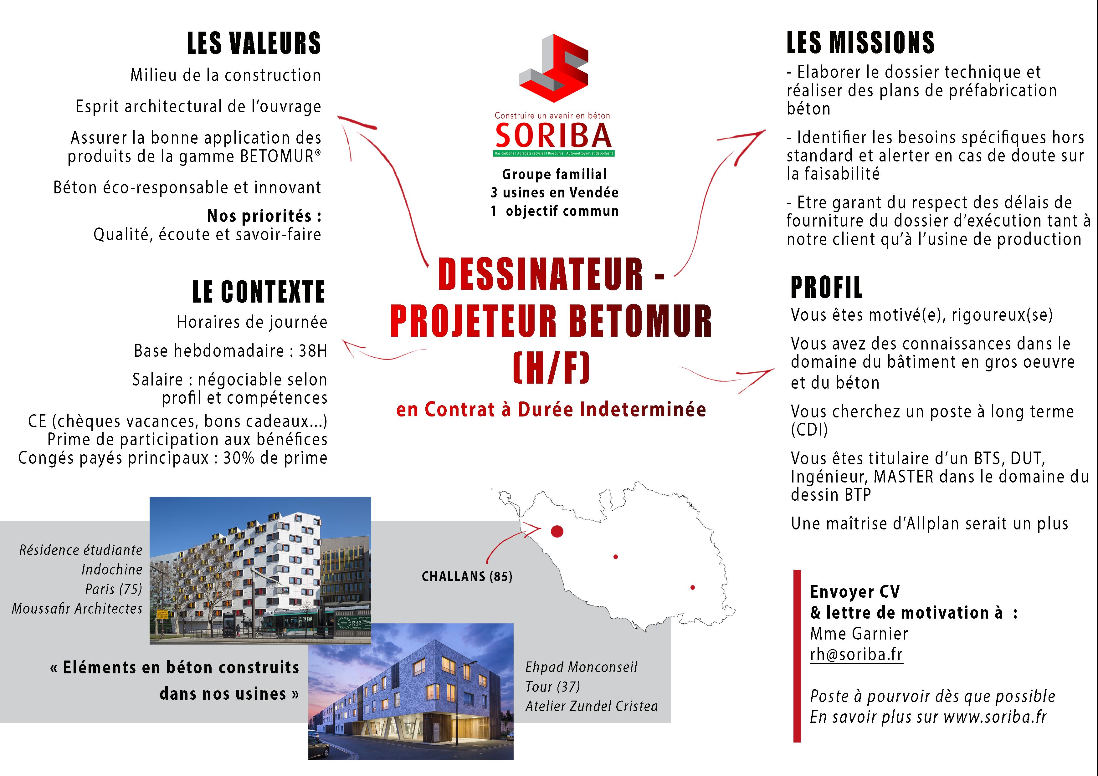 Offre Soriba - Dessinateur - Projeteur BETOMUR