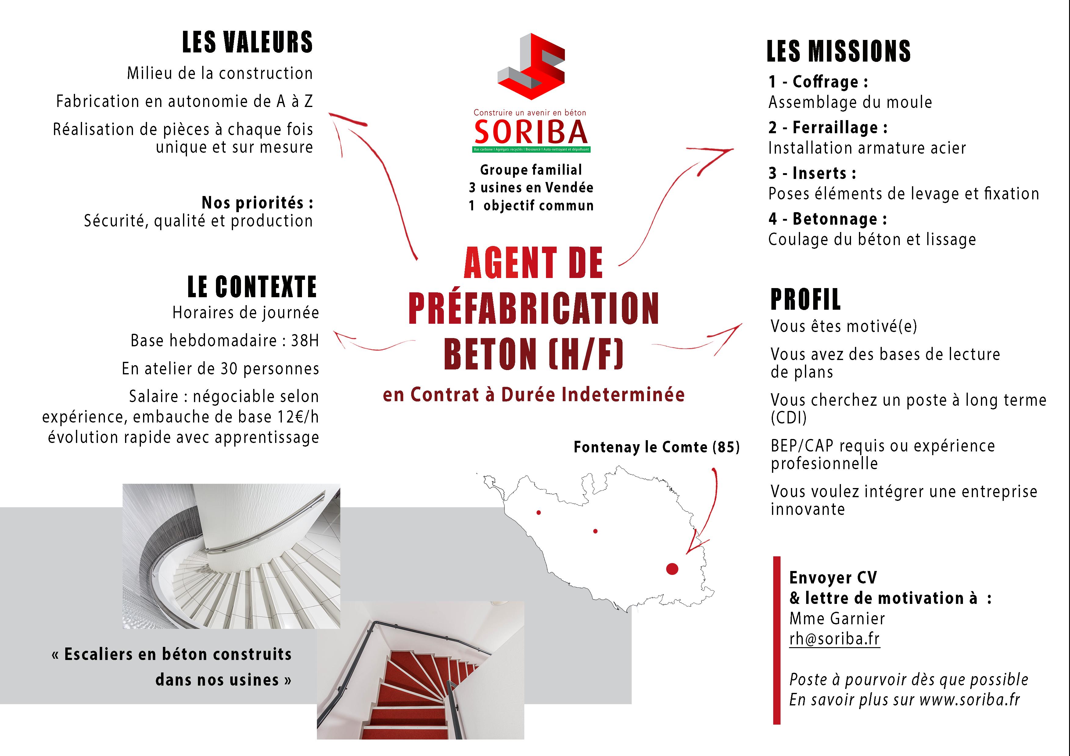 Agent de préfabrication béton - Fontenay le Comte